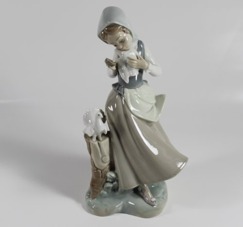 "Lladro ""Girl with Pigeons"" Collectible Figurine #04915 Retired Glazed Finish"