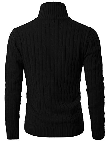 H2H Mens Casual Knited Cardigan Zip UP with Twisted Pattern Black US S/Asia XL (KMOCAL017) by H2H (Image #3)