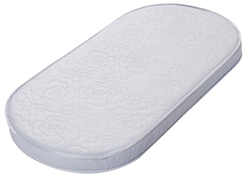 "Big Oshi Baby Bassinet Mattress - 15"" x 30"" x 2"" - Waterproof Exterior - Thick, Soft, Breathable Foam Interior - Oval Shaped, Comfy, Padded Design, Also Fits Portable Bassinets"