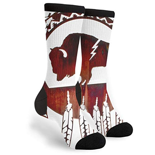 Native American Tribal Feather Decoration Unisex Adult Fun Cool 3D Print Colorful Athletic Sport Novelty Crew Tube Socks