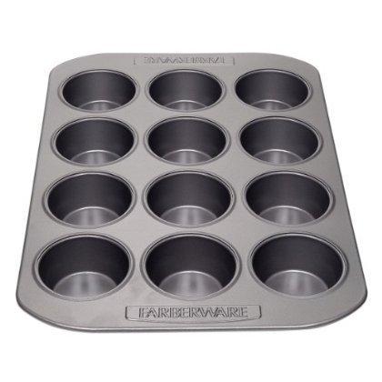 3 X Farberware Nonstick Bakeware 12-Cup Muffin Pan, Gray