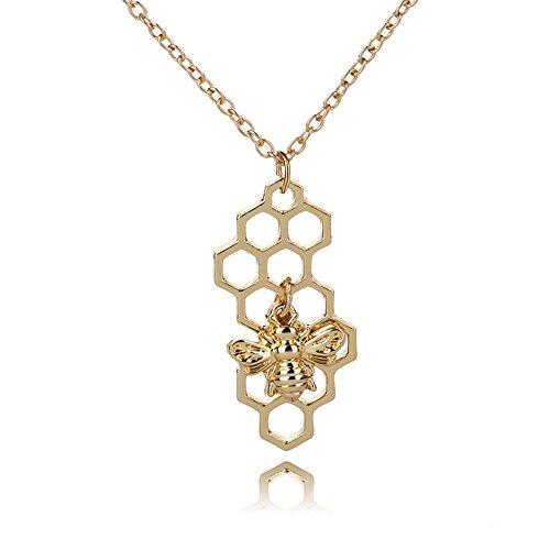 MINGHUA Punk Gold Silver Color Bumble Bee Honeycomb Pendant Necklace for Women Honey Comb Lace nest Shape Charm Necklaces (Gold) ()