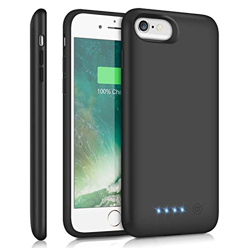 Feob Battery Case for iPhone 8/7 /6s/6, 6000mAh Portable Charging Case Extended Battery Pack for iPhone 8/7 /6s/ 6 Rechargeable Charger Case [4.7 inch]-Black