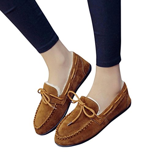 Fheaven Women Flats Autumn Winter Warm Shoes Slip On Comfort Fur Lined Flat Shoes Loafers (Brown, US:7)