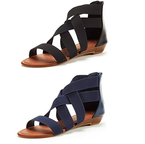 DREAM PAIRS Women's ELASTICA8 Black and Navy (2 Pairs) Elastic Ankle Strap Low Wedges Sandals Size 10 M US