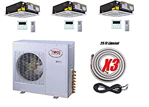 YMGI Tri Zone - 42,000 BTU (12K +12K+18K) Ceiling Mounted Ductless Mini Split Air Conditioner with Heat Pump for Home, Office, Apartment with 25 Ft Lineset installation Kits