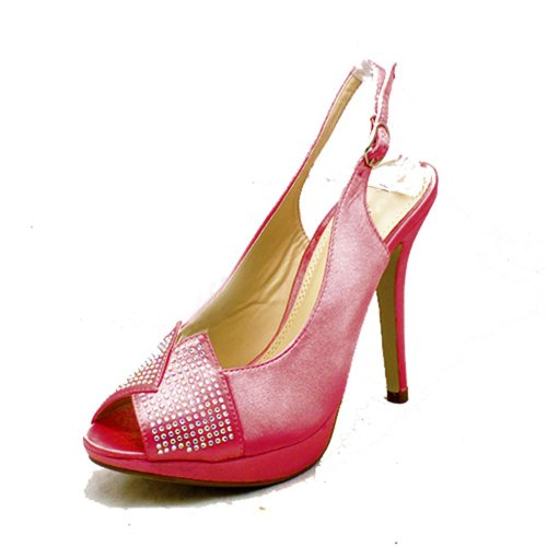 cristal chaussures retour sling Corail Satin mariage toe Ladies cloutés open 4FOxf