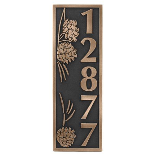 Pinecone Address Plaque - Pine Cone Vertical Address Plaque 6.5x19.5 - Raised Bronze Coated