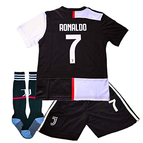 new arrivals 4fb83 6317e New Season Juventus 2019-2020 Home Kids/Youth Ronaldo #7 Soccer Jersey &  Shorts & Socks Color White/Black 5-6Years Size 20