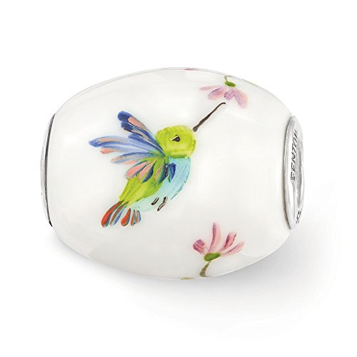Fenton Hand Painted Hummingbird Glass & Sterling Silver Barrel Charm