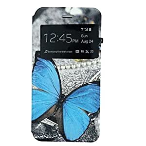 WQQ Blue Butterfly Pattern PU Leather Open Window Full Body Case for iPhone 6
