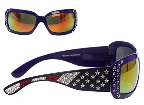 Ladie Navy Blue Rhinestone - Montana West Ladies American Flag Collection Sunglasses UV 400, Navy Blue