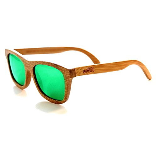 RawWood Originals Natural/Green Polarized Bamboo Wood Sunglasses 100% Floating - Frames Sunglasses With Wooden