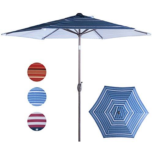 Abba Patio Striped Patio Umbrella 9-Feet Outdoor Market Table Umbrella with Push Button Tilt and Crank, Blue Striped (Blue Striped Umbrella)