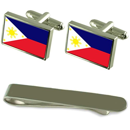 Philippines Flag Silver Cufflinks Tie Clip Engraved Gift Set by Select Gifts