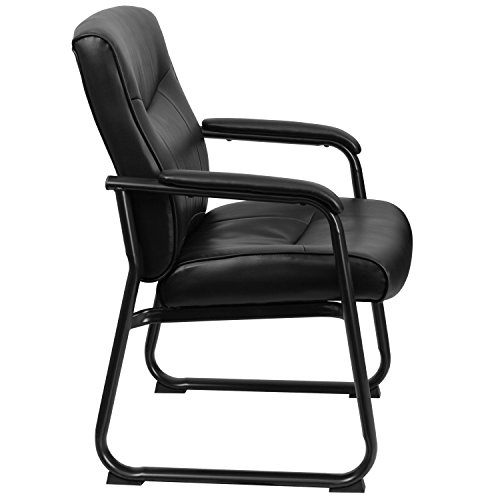 Flash Furniture Hercules Series Big and Tall Leather Executive Side Chair with Sled Base and Padded Arms, 500-Pound, Black by Flash Furniture (Image #1)