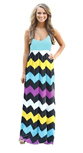 - Newfits Womens Striped Zig Zag Scoop Neck Chevron Print Tank Maxi Long Dress (M, Green2)