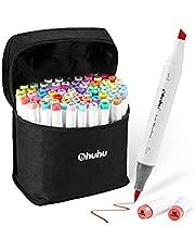 Ohuhu 72 Colors Alcohol Markers, Brush & Chisel Double Tipped Sketch Marker For Kids, Artist, Alcohol Brush Art Marker Set Bonus 1 Blender For Sketching, Adult Coloring, Illustration, And Design