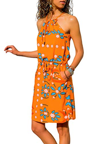 Azokoe Women's Bohemian Flower Printed Dress Sleeveless High Neck Straps Sundress with Pockets Orange