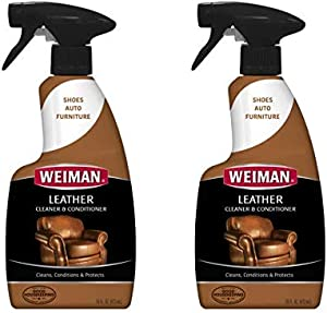 Weiman Leather Cleaner and Conditioner - 16 Ounce - Use On Finished Leather in Car Interior Shoe Boots Briefcase Handbags Jackets and Luggage (Pack of 2)
