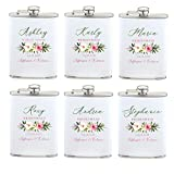Vastigo Set of 3 or 6 Personalized Bride, Maid of Honor, Bridesmaids Flasks Individually Packed and Funnel Included | Perfect for Weddings, Bachelorette Parties, Party Favors - White (6)