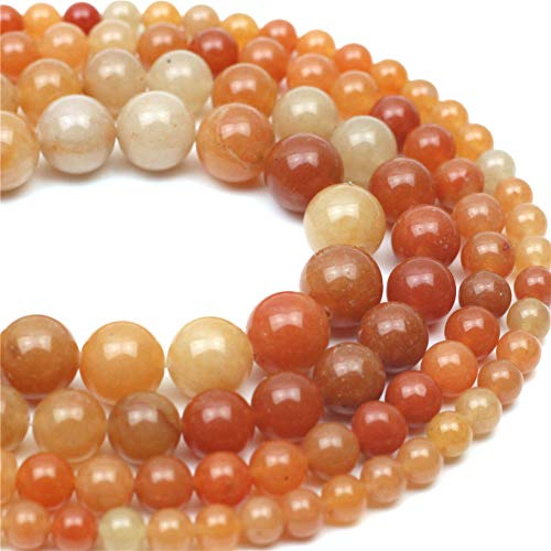 "Oameusa 6mm Red-Orange Aventurine Jade Beads Round Beads Gemstone Beads Loose Beads Agate Beads for Jewelry Making 15"" 1 Strand per Bag-Wholesale"