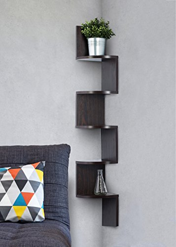 Corner shelf - Espresso Finish corner shelf unit - 5 Tier corner shelves can be used for corner bookshelf or any decor - By Sagler
