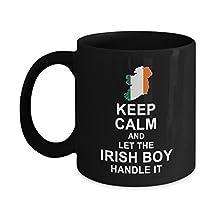 Irish Coffee Mug - Keep Calm And Let The Irish Boy Handle It Funny Ceramic Mugs - Birthday Gag Gift Tea Cup Black 11 ounce