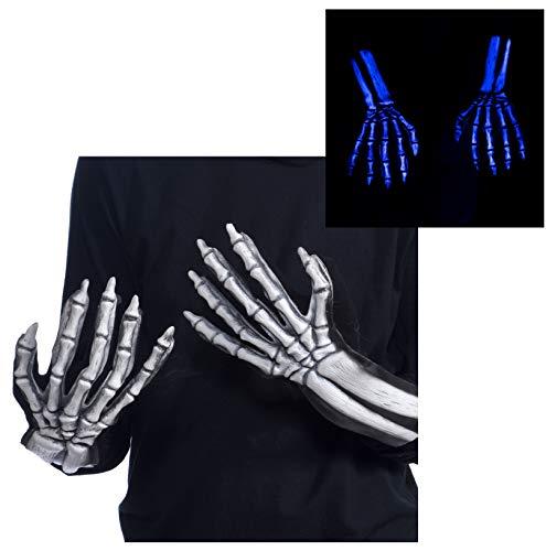 Zagone Studios UV Glowing Ghost Skeleton Bone Gloves, White Skeleton Hands, Glow Blue -