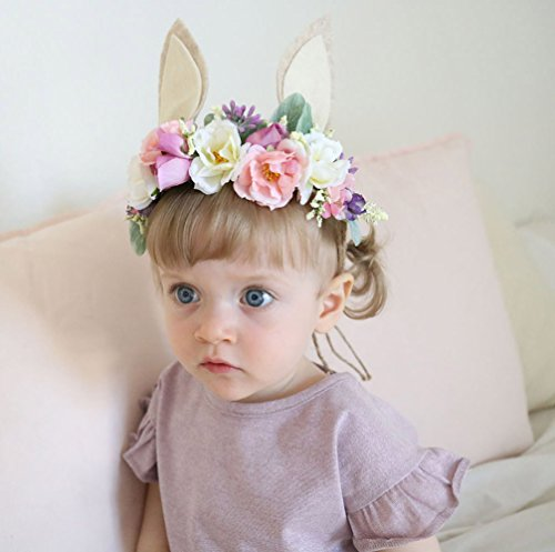 Charmly Rabbit Ear Flower Crown Flower Headband Children Floral Headpiece Adjustable Hemp Rope for Baby Girl Children Birthday Festivals Party Cosplay White Gray Ears for $<!--$9.99-->