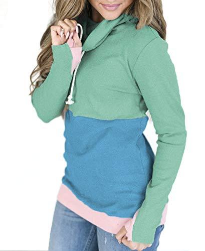 NEWCOSPLAY Women Hoodies-Tops Floral Printed Long Sleeve Drawstring Sweatshirt with Pocket (L, 0054green) (Hooded Drawstring Sweater)