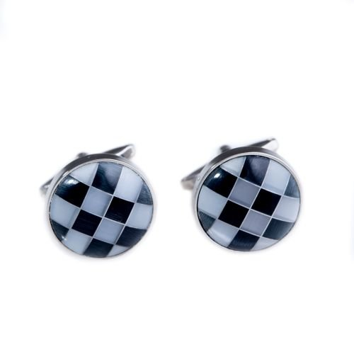 Bey-Berk Rhodium Plated Semi Precious Stone Cufflinks - Gray/
