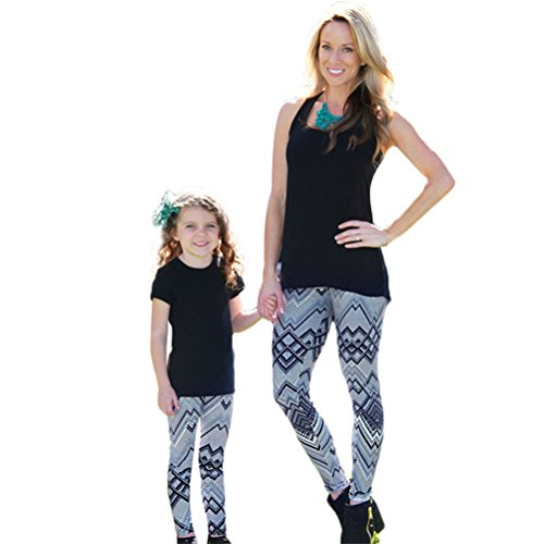 Familyclothing Matching Outfit Wave Skinny Tight Leggings Trousers Leggings Pants (5T, Kids girl) (Sexy Little Outfits)