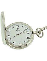 Gents Silvertone Roman Numerals Pocket Watch + 12 Chain 90021-01