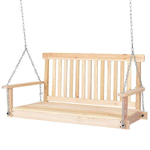Giantex 4 FT Porch Swing with Chain Natural Wood Garden Swing Seat Patio Hanging -