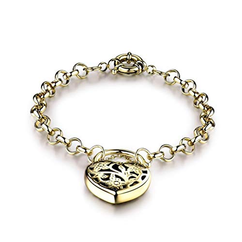 Na Na nubngern 14K Gold Filled Vintage Style Eternity Wedding Heart Padlock Bracelets for Women