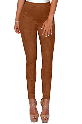 (WearLove Womens Faux Suede High Waist Ankle Length Stretch Pencil Pants Leggings Brown)