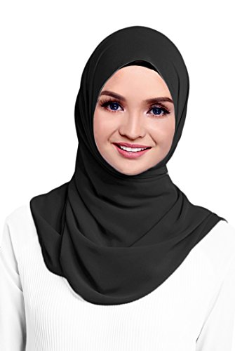 Hana's Womens Georgette Chiffon Hijab One Size Black
