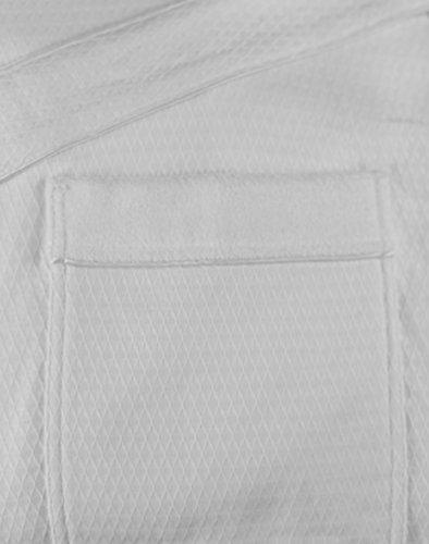 Full-Length Bathrobe - Diamond Jacquard Minx Lined Robe - 100% Cotton - Traditional Shawl Design - 4XL WHITE by Chadsworth & Haig (Image #2)