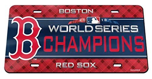(Stockdale Boston Red Sox 2018 World Series Champions Premium Laser Cut Tag Acrylic Inlaid License Plate Baseball)