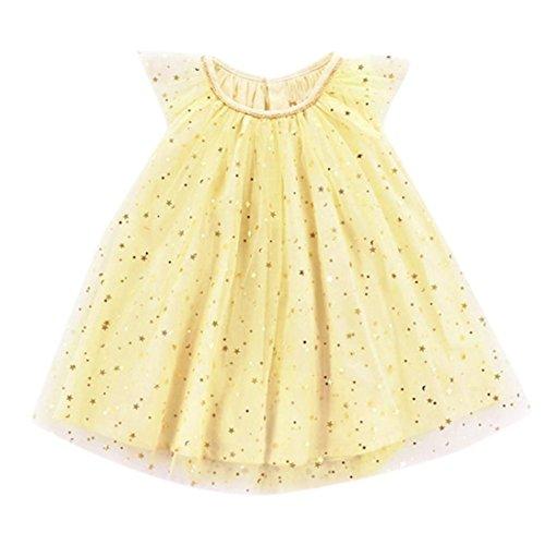 Jarsh Toddler Infant Baby Girls Dress, Shinny Star Ruffle Sleeveless Dresses (12M(9-12Month))
