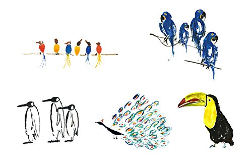 10 Birthday Get Well Soon Anniversary Cards with Birds Greeting Cards Penguin Peacock Toucan Hyacinth Macaw Singing Birds (pack of 10) from GayaCards
