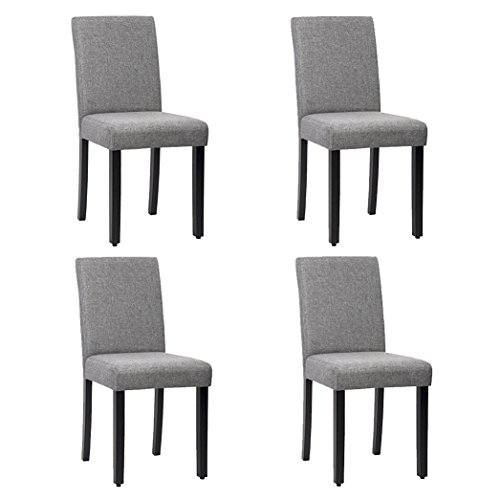 Dining Chairs Kitchen Livng Room Side Armless Solid Wood Accent Chair Seat with Black Leg Fabric Cushion Modern Style Bedroom Furniture Set of 4