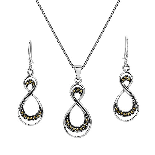 AeraVida Double Eternity Marcasite Style Pyrite .925 Sterling Silver Jewelry Set -