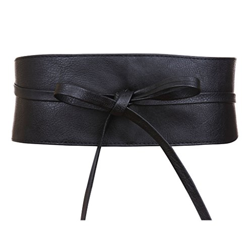 Fashion Belt Wide - Womens Faux Leather Wrap Around Obi Style Waist Band Belt (Black Faux Leather)