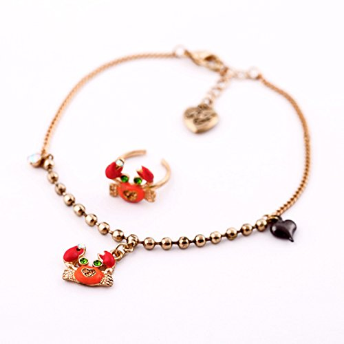 usongs fringe gold jewelry marine atmosphere cute little crab Foot Chain anklet foot ring