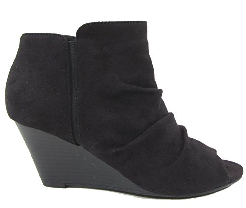 Suede Black City Women's Classified Ankle Toe Bootie Wedge Ruched Peep qOzqCw8
