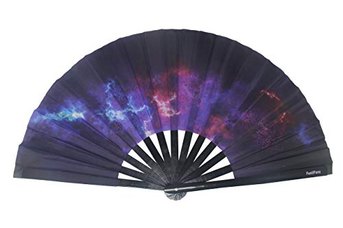FestiFanz Large Galaxy Folding Hand Rave Fan Festival Fan by FestiFanz