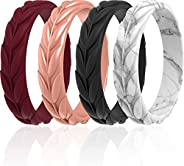 ThunderFit Silicone Rings for Women 7 Rings / 4 Rings / 1 Ring - Leaf Design Wedding Bands - 5.2mm Width - 2mm