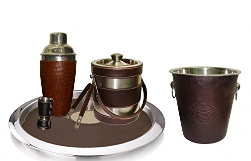 King International Stainless Steel Pure Leather Bar Set Set of 6 Pieces by King International